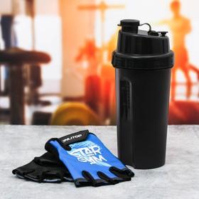 Набор для тренировок «Star gym»: шейкер 600 мл, перчатки 11 × 15 см