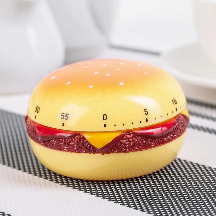"Таймер кухонный ""Гамбургер"", механический, цвет МИКС"