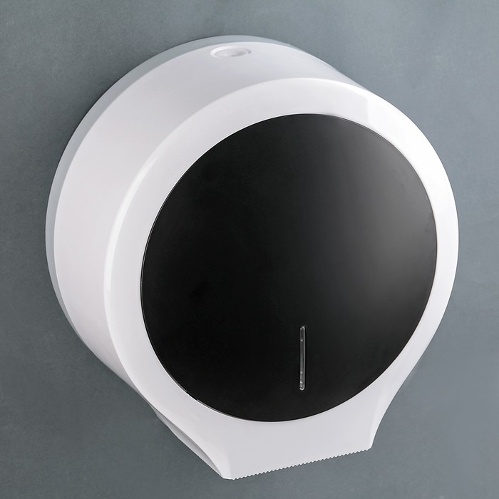Диспенсер туалетной бумаги 29×26×13 см, втулки 5.7 см и 4.5 см, пластик, цвет белый с чёрным - фото 4648730
