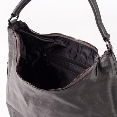 Сумка женская, отдел на молнии, 3 наружных кармана, длинный ремень, серый