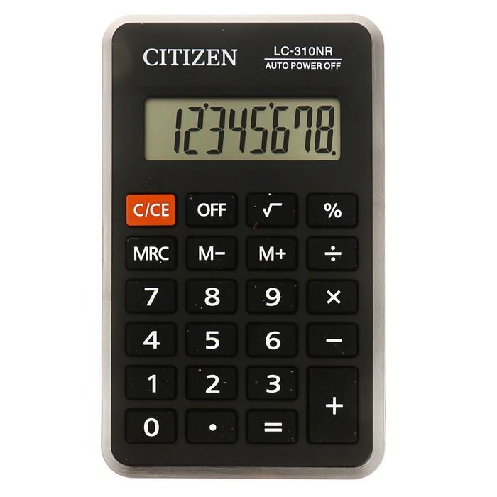 Калькулятор карманный 8-разрядный, 69х115х23 мм, питание от батарейки, чёрный LC310NR - фото 443620428