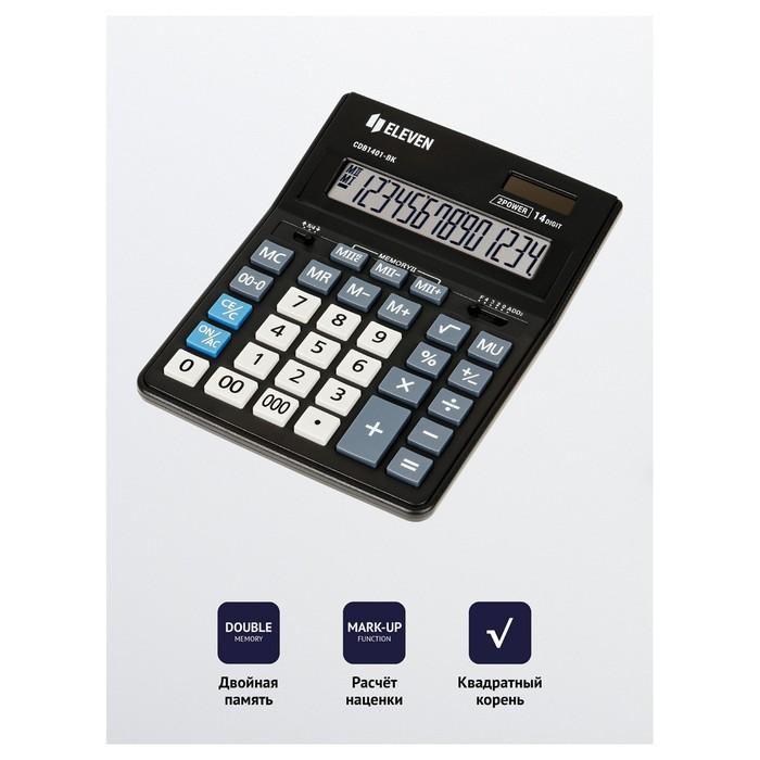 Калькулятор настольный 14-разрядный, 155х205х28 мм, двойное питание CDB1401BK - фото 418337414