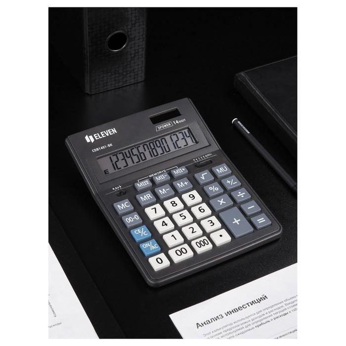 Калькулятор настольный 14-разрядный, 155х205х28 мм, двойное питание CDB1401BK - фото 418337415