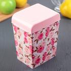 Емкость для сыпучих продуктов, с декором, цвет розовый