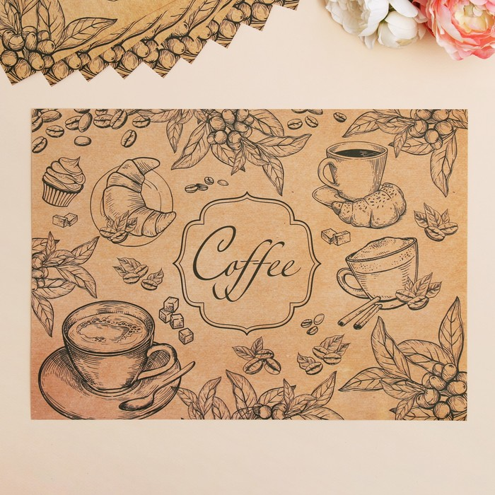 """Набор """"Кофе"""", бумажные салфетки, 10 шт., 35 х 25 см"""