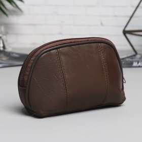 Cosmetic bag simple, division zipper, color brown