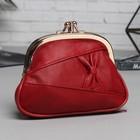 Косметичка-фермуар, 2 отдела на рамке, наружный карман, цвет бордовый