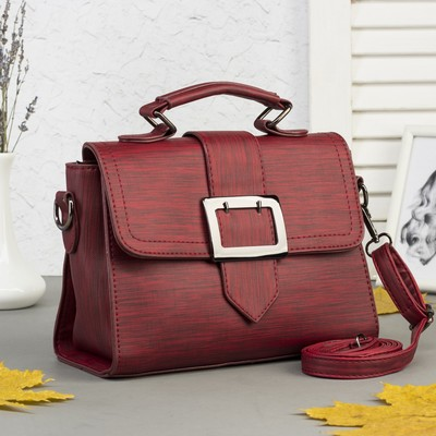 Bag, Department, partition with zip, outer pocket, long strap, color Burgundy