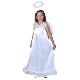 """Карнавальный костюм """"Белый ангел"""", нимб, платье, крылья, р-р 28, рост 98-104 см"""