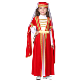 Карнавальный костюм для лезгинки, для девочки: головной убор, платье, р-р 28, рост 98-104 см, цвет красный