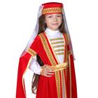 Карнавальный костюм для лезгинки, для девочки: головной убор, платье, р-р 28, рост 98-104 см, цвет красный - фото 105521531