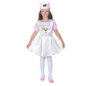 """Карнавальный костюм """"Кошечка"""", белый атлас, сарафан, головной убор, р-р 28, рост 98-104 см"""