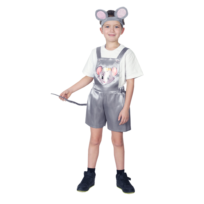 """Карнавальный костюм """"Мышонок"""", атлас, полукомбинезон, головной убор, р-р 28, рост 98-104 см"""