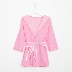 Халат махровый с капюшоном для девочки, рост 98-104 см, цвет розовый 1431-56