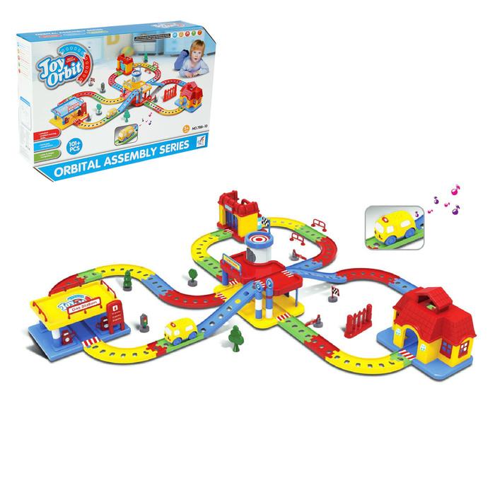 Автотрек-конструктор для малышей, 101 деталь, со звуковыми эффектами, длина трассы: 2,32 м