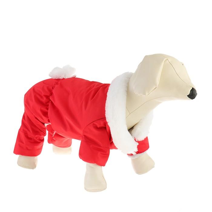 Комбинезон для собак с меховым воротником, 2XL (ДС 34-36 см, ОШ 34-36 см, ОГ 44-48), красный