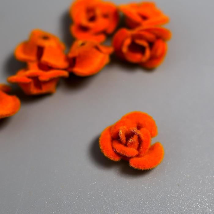 "Декор для творчества металл ""Розочки оранж"" набор 10 шт бархатный 1,2х1,2 см - фото 420148"