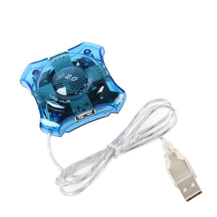 Концентратор USB 2.0 Gembird, 4 порта, прозр.корпус, блистер