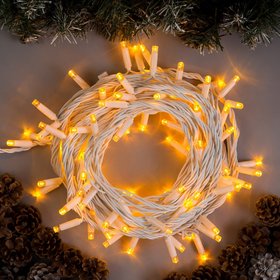 """Гирлянда """"Нить"""" 10 м , IP65, УМС, белая нить, 100 LED, свечение жёлтое, 220 В"""