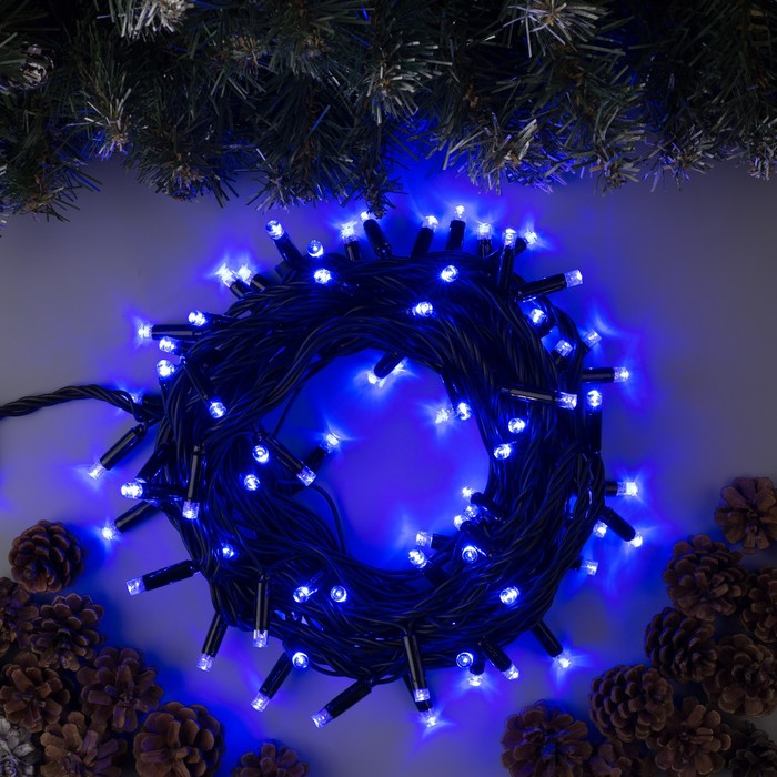 """Гирлянда """"Нить"""" уличная, УМС, 10 м, 3W LED(IP65-M)-100-220V, нить тёмная, свечение синее - фото 687152181"""