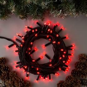 """Гирлянда """"Нить"""" 10 м , IP65, УМС, тёмная нить, 100 LED, свечение красное, 220 В"""