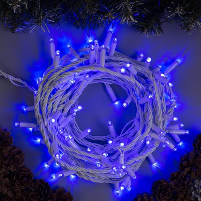 """Гирлянда """"Нить"""" 10 м , IP65, УМС, белая нить, 100 LED, свечение синее, 220 В"""
