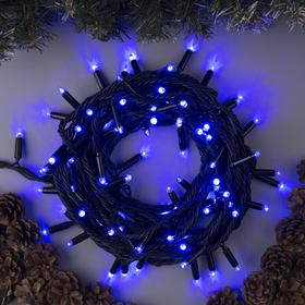 """Гирлянда """"Нить"""" 10 м , IP65, УМС, тёмная нить, 100 LED, свечение синее, 220 В"""
