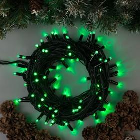 """Гирлянда """"Нить"""" 10 м , IP65, УМС, тёмная нить, 100 LED, свечение зелёное, 220 В"""