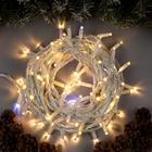 """Гирлянда """"Нить"""" уличная, УМС, 10 м, 3W LED(IP65-O)-100-220V, мерцание, нить белая, свечение тёплое белое"""