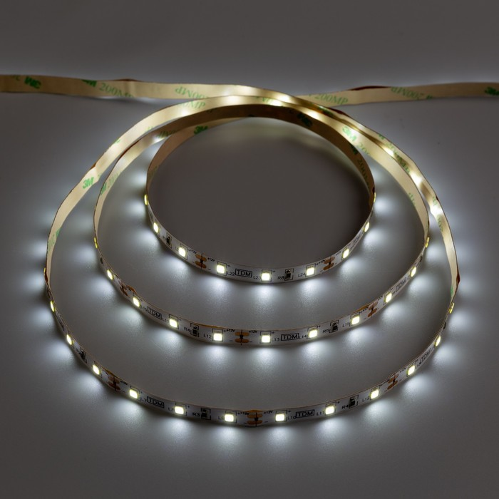 Комплект светодиодной ленты TDM, SMD2835, 60 LED/м, 4.8 Вт/м, 12 В, IP20, 6000 К, 1 м