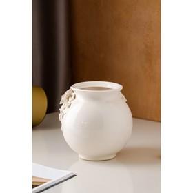 """Ваза настольная """"Шар"""", белая лепка, золото, керамика, 17 см, микс - фото 7458280"""