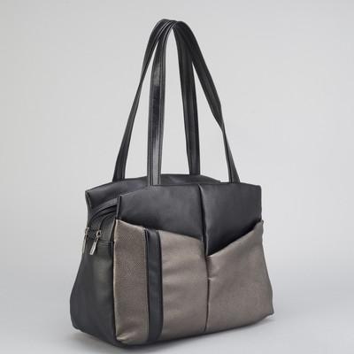922c98822c47 Сумка женская, 2 отдела на молниях, 3 наружных кармана, цвет чёрный/ бронзовый