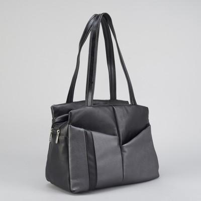 Сумка женская, 2 отдела на молниях, 3 наружных кармана, цвет чёрный/серый