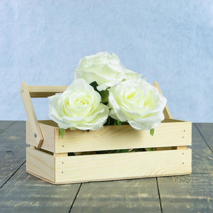 Кашпо флористическое из двух реек, складная деревянная ручка, натуральное, 24,5х13,5х9см