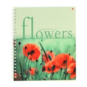 Тетрадь А5+, 80 листов в клетку на гребне «Цветы», обложка мелованный картон, глянцевая ламинация, МИКС