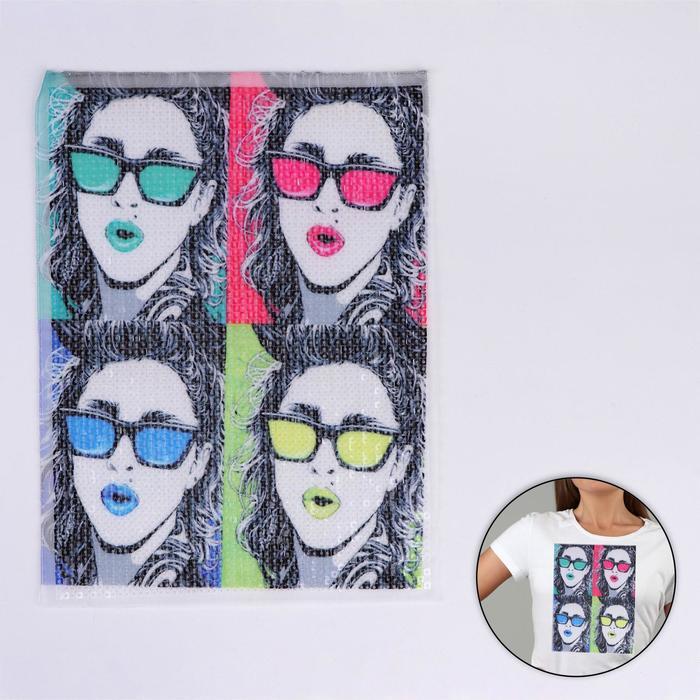 Аппликация из пайеток «Девушка в очках», 30,5 × 22,5 см - фото 690452