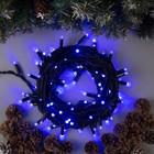 """Гирлянда """"Нить"""" уличная, УМС, 10 м, 3W LED(IP65-O)-100-220V, мерцание, нить тёмная, свечение синее"""