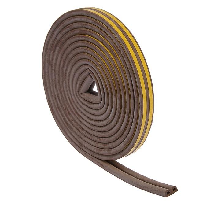 Уплотнитель резиновый TUNDRA krep, профиль D, размер 9 х 8 мм, коричневый, в упаковке 10 м