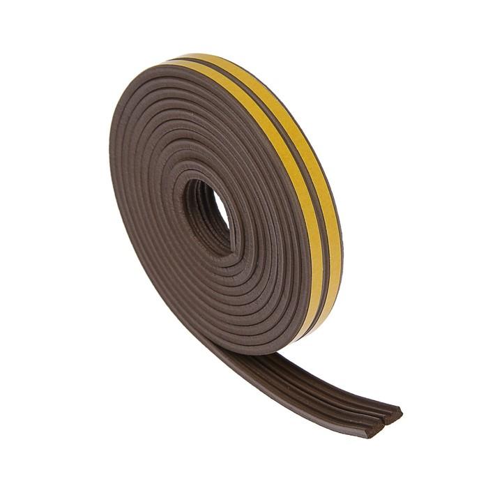 Уплотнитель резиновый TUNDRA krep, профиль Е, размер 4 х 9 мм, коричневый, в упаковке 6 м