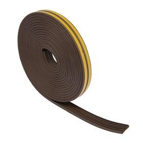 Уплотнитель резиновый TUNDRA krep, профиль Е, размер 4 × 9 мм, коричневый, в упаковке 10 м