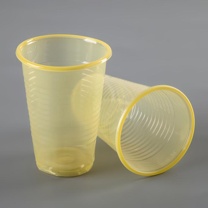 Набор стаканов одноразовых 200 мл, 6 шт, цвет желтый