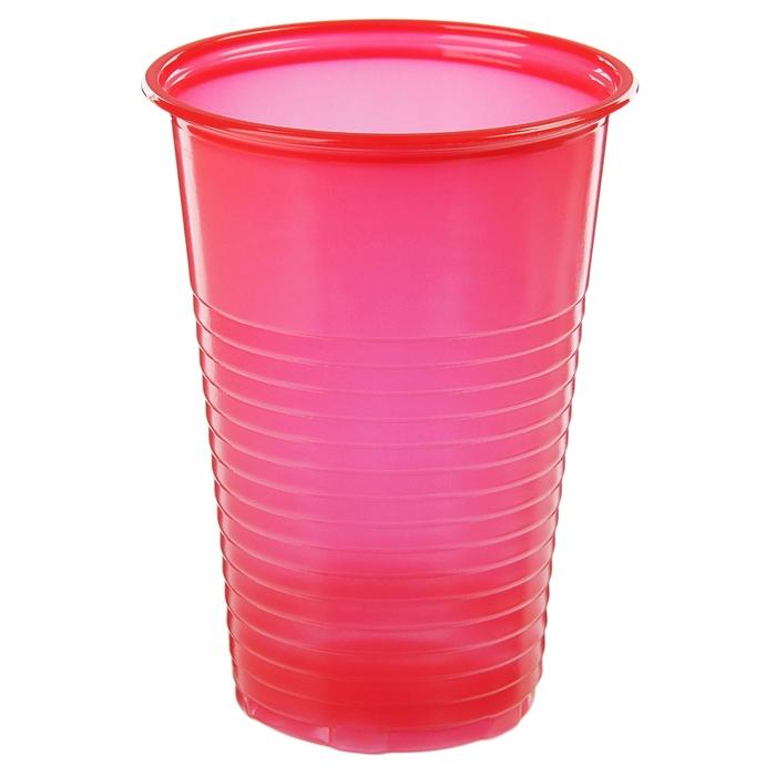 Набор стаканов одноразовых 200 мл, 6 шт, цвет красный