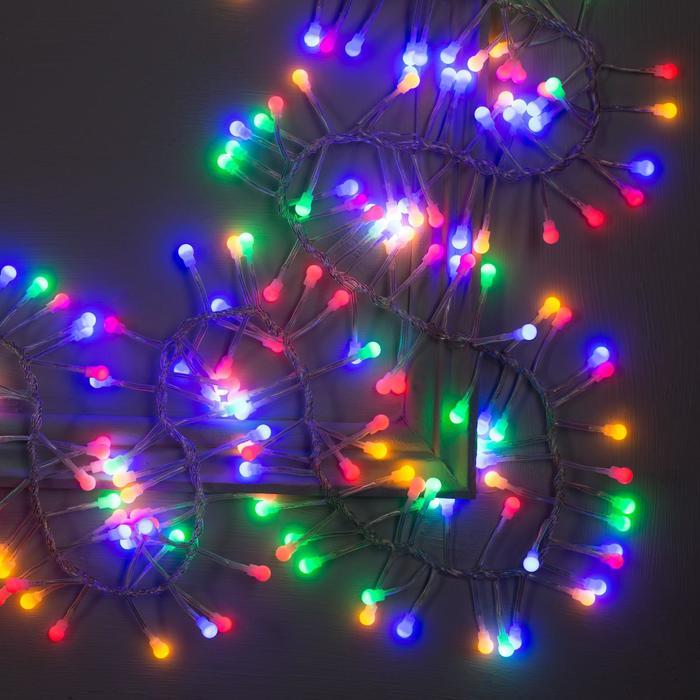 """Гирлянда """"Нить"""" уличная, УМС, мишура шарики 3 м, LED-288-220V фиксинг, нить прозрачная, свечение мульти"""