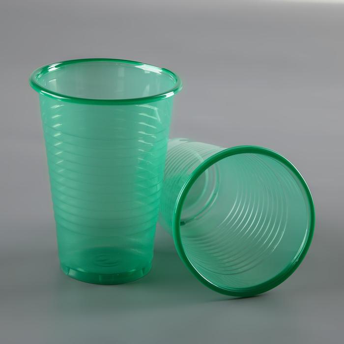 Стакан одноразовый 200 мл, цвет зеленый, набор 6 шт
