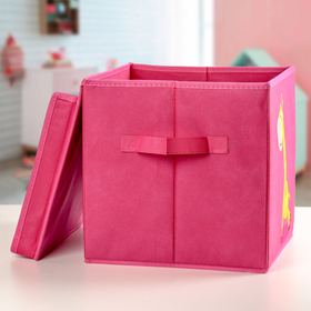 Короб для хранения с крышкой «Жираф», 29×29×29 см, цвет розовый - фото 2177829