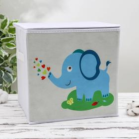 """Короб для хранения с крышкой детский 29×29×29 см """"Слонёнок"""""""