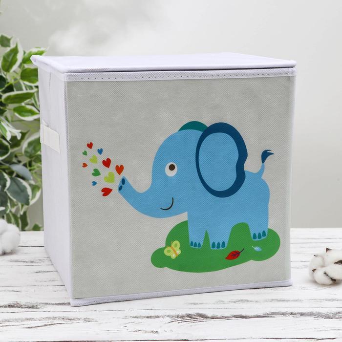 Короб для хранения с крышкой «Слонёнок», 25×25×25 см, цвет серый