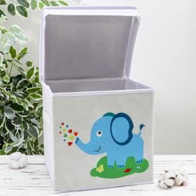 Короб для хранения с крышкой «Слонёнок», 29×29×29 см, цвет серый - фото 2177728