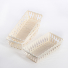 Набор корзин для хранения Light XS, 3 шт: 19,5×10×5 см, цвет слоновая кость