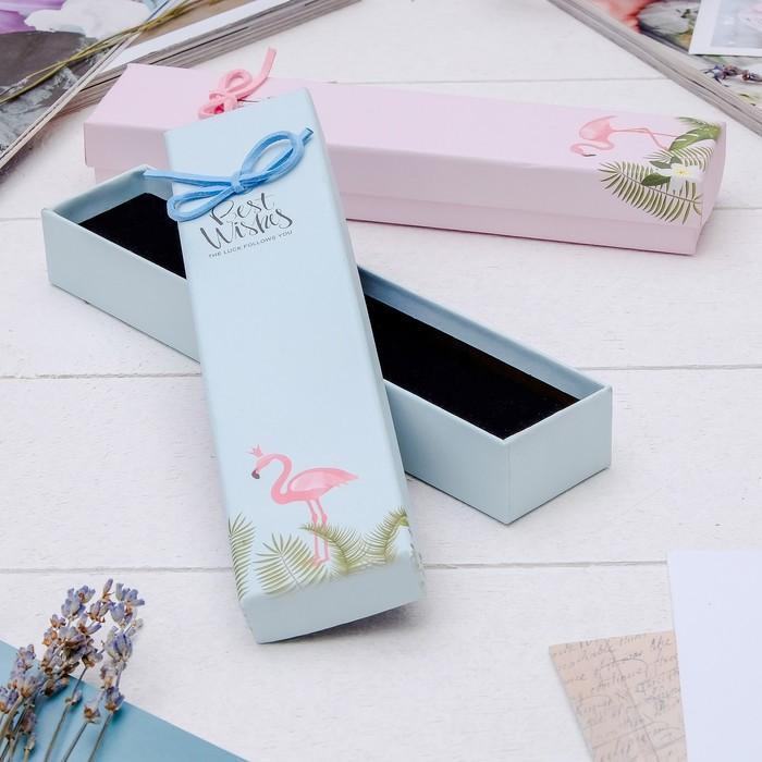 """Коробочка подарочная под браслет/цепочку/часы """"Фламинго"""" 20*4*3см, цвет МИКС - фото 408656835"""